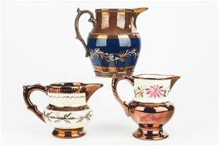 Copper Luster Pitchers (3)