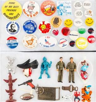 Mixed Toys and Pin-Backs (2 Trays)