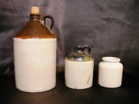6: 2 19th Century jugs along w/ crock