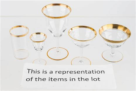 Vintage Gold-Flashed Stemware Collection