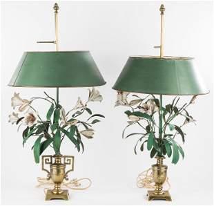 Vintage Floral Table Lamps (Pair)