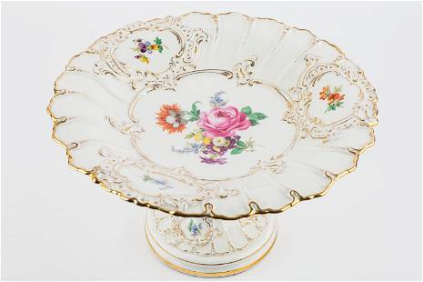 Hand-Painted Dresden Style Compote
