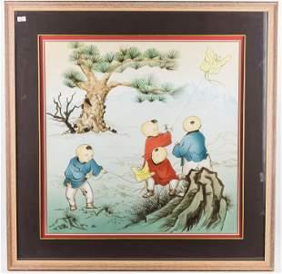 Asian Watercolor of Children Flying Kites