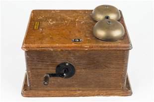 Early 20th C Oak Telephone Bell