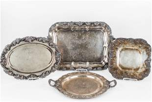 Silver Plated Grape Pattern Trays