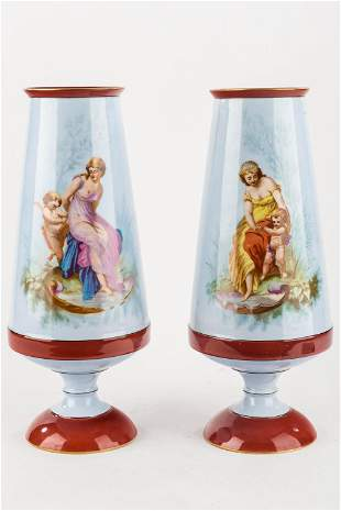 Sevres Large Hand-Painted Vases (Pair)