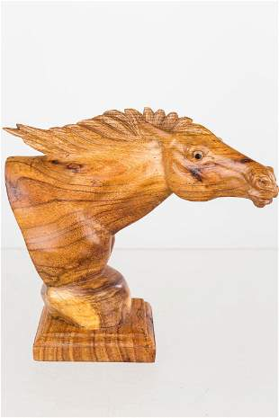 Exotic Wood Hand-Carved Bust of a Horse