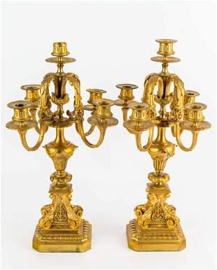 Large Bronze Candelabras (Pair)
