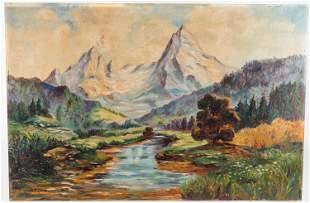 A. Fischer Oil on Board Landscape