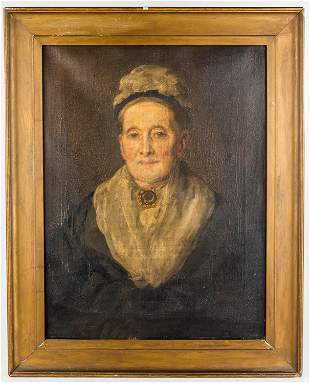 19th C Oil on Canvas Portrait of Old Woman