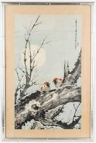 Linchia Li (Chinese 1920-1978) Watercolor of Birds