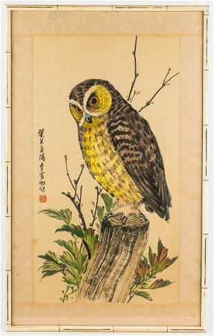 Linchia Lin (Chin. 1920-1978) Watercolor of Owl