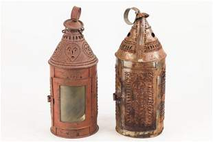 19th C Punched Tin Lantern & Another
