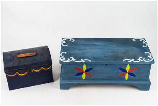 Artisan Miniature Blanket Chest & Tole Painted Box