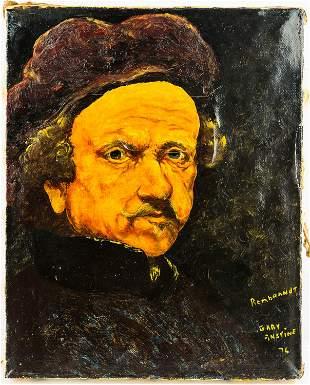 Gary Anstine Oil on Canvas of Rembrandt