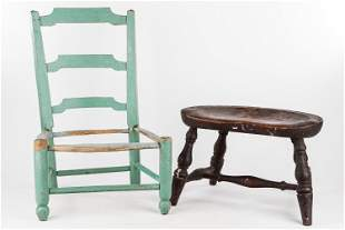 Early Child's Chair & Stool