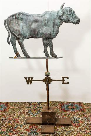 Copper Cow Weather Vane w/ Directional