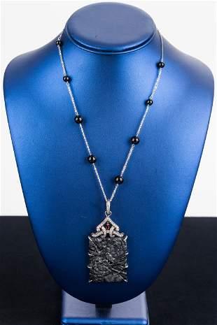 Carved Jade Sterling Necklace
