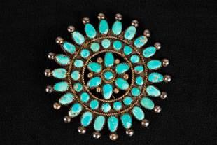 Zuni Turquoise Vintage Brooch
