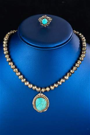 Antique Turquoise Necklace & Ring