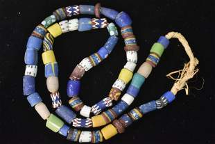 19th C Native Hand-Drilled Trade Bead Necklace