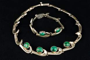 Mexican Sterling & Turquoise Postmodern Set