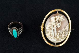 Antique Cameo & Sterling Ring