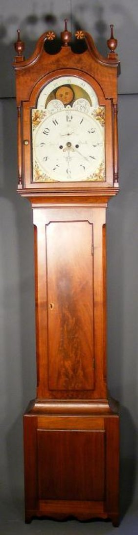 202: RARE Reading Federal Walnut Tall Case Clock c1800