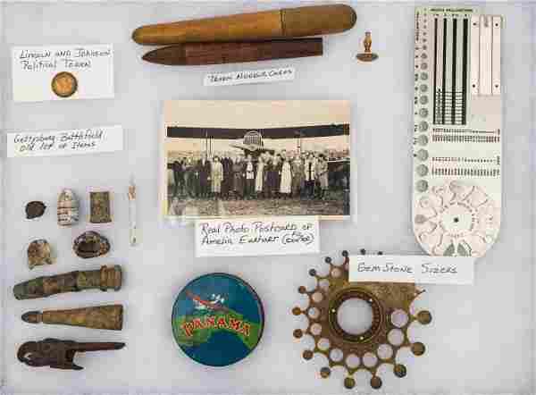 Amelia Earhart Postcard and Artifacts