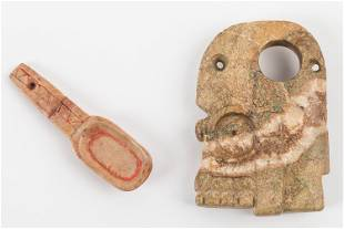 Pre-Columbian Snuffing Spoon and Pendant