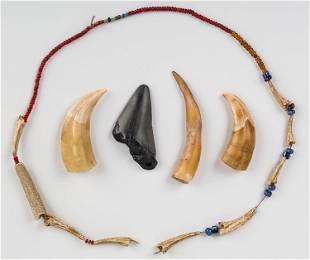 Native American Bone and Trade Bead Necklace
