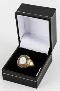 18K Gold Ring with Eye Agate