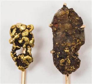 CA Gold Rush Nugget Stick Pins (2)