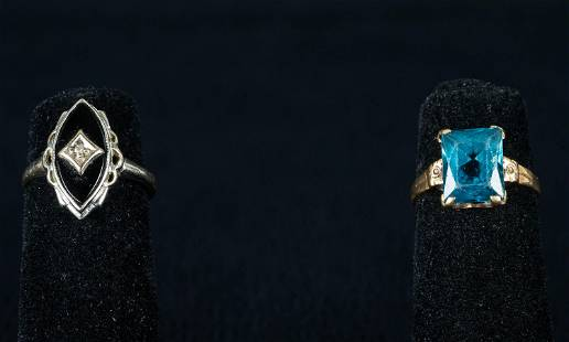 10K Gold Rings (2) one with Topaz