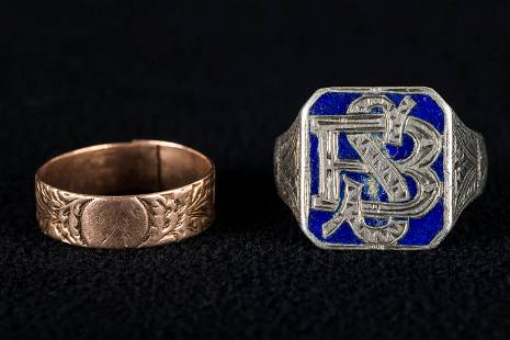 Antique Silver / Enamel and 9K Gold Rings (2)