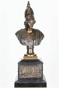 19th C Bronze Bust With Marble Base