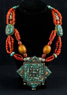 Tibet Turquoise and Coral Necklace