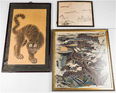 Chinese Embroidery & Cat Painting