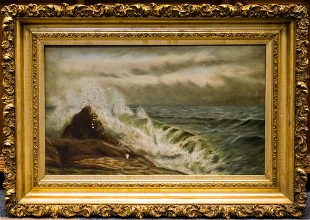 Antique Ornate Gilt Frame Ocean Oil Painting