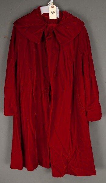 8: Vintage Clothing-Red velvet cape, ca 1950