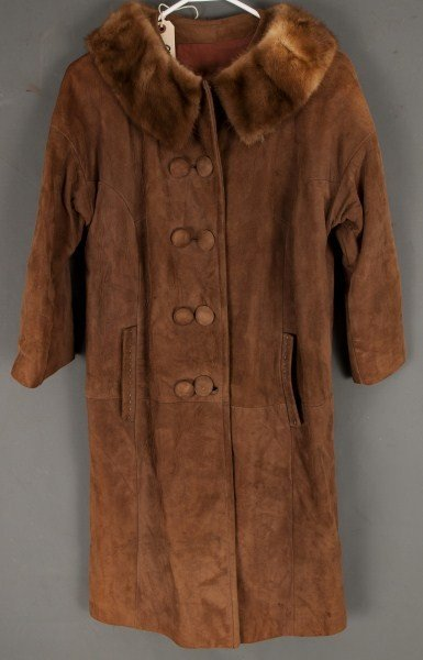 9: Vintage Clothing-Suede jacket with mink collar,