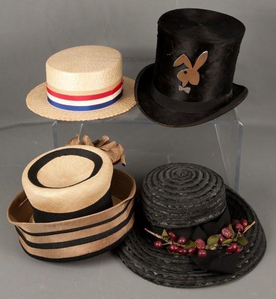 23: Vintage Hats-2 Vintage Men's hats, 2 lady's hats