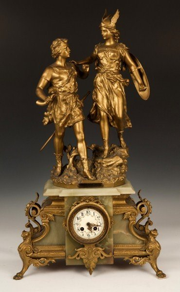 433: French figural, 8 day, mantle clock c.1880