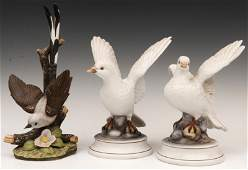 629 Pair of Porcelain White Doves by Andrea  with Ano