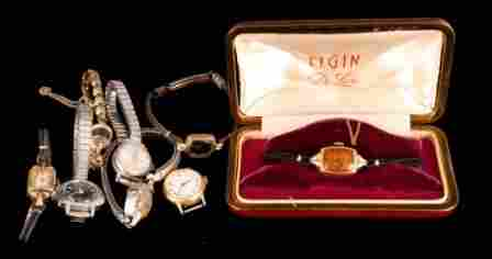 Grouping of lady's wrist watches. Including Elgin,
