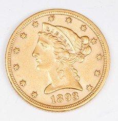 647: 1893 Quarter Eagle, Gold Eagle
