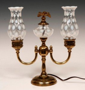 3: Fenton Double Shaded Student Lamp C. 1930's