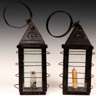 8: Pair of Tin Candle Lantern 20th C