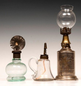 14: Early Whale Oil Finger Lamp with a Pigeon Oil Lampe