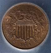 868: Two Cent Piece 1864 ISG MS64 RB